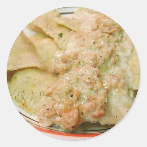 El cocinar de la cena de la comida de las salsas pegatina redonda