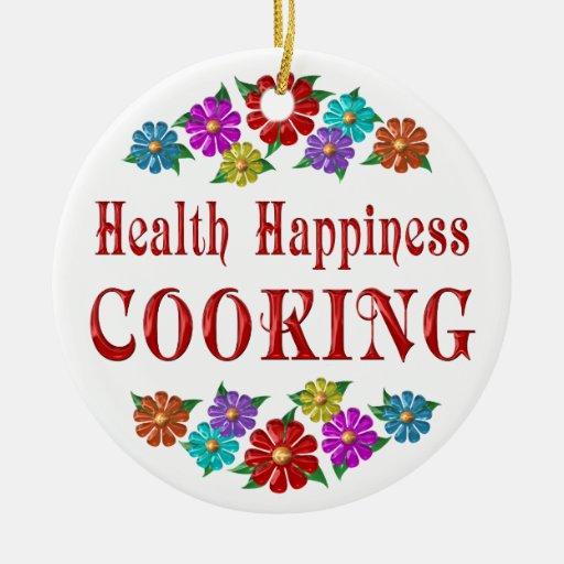 El cocinar de la felicidad de la salud adorno redondo de cerámica
