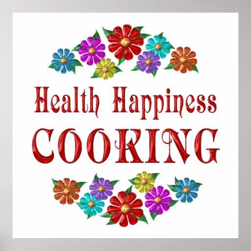 El cocinar de la felicidad de la salud póster