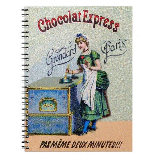 El cocinar de la publicidad del chocolate del libreta espiral