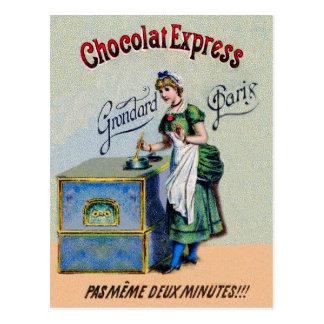 El cocinar de la publicidad del chocolate del postal
