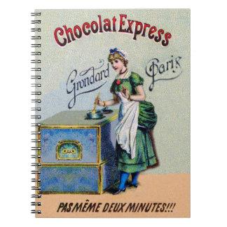 El cocinar de la publicidad del chocolate del vint libreta espiral