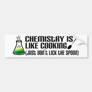 El cocinar de la química etiqueta de parachoque
