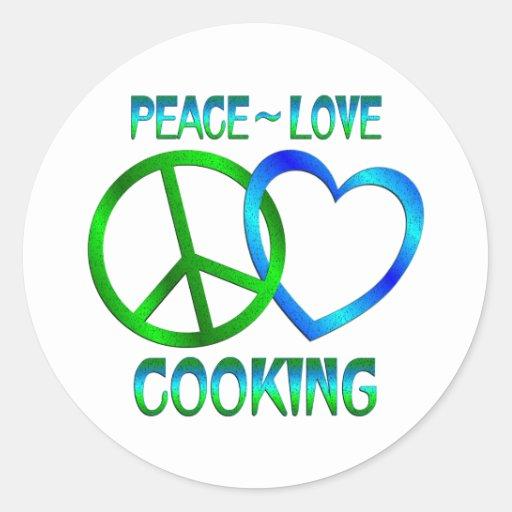 El COCINAR del amor de la paz Pegatina Redonda