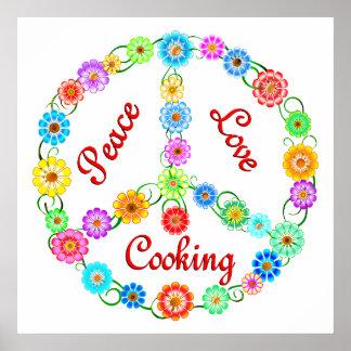 El cocinar del amor de la paz póster