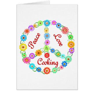 El cocinar del amor de la paz tarjeta de felicitación
