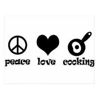 ¡El cocinar del amor de la paz! Tarjeta Postal