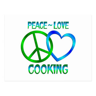 El COCINAR del amor de la paz Tarjeta Postal