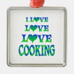 El cocinar del amor del amor ornamento para arbol de navidad
