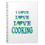 El cocinar del amor del amor libretas espirales