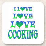 El cocinar del amor del amor posavasos