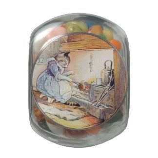 El cocinar del gato del gatito frascos cristal