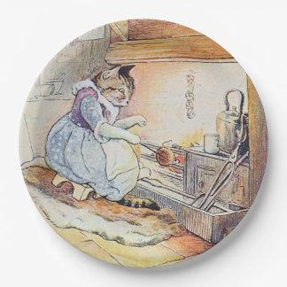 El cocinar del gato del gatito plato de papel de 9 pulgadas