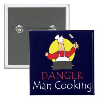 El cocinar del hombre del peligro pin cuadrada 5 cm
