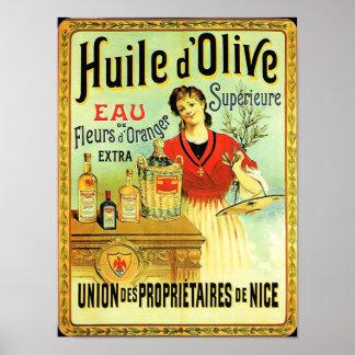 El cocinar del vintage del aceite de oliva del póster