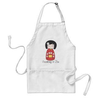 """El """"cocinar es delantal de la muñeca de Kokeshi de"""