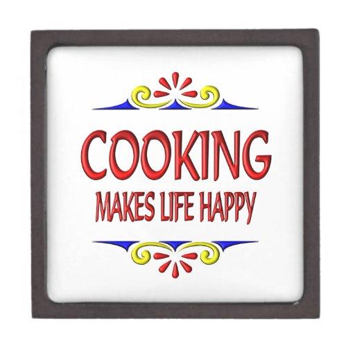 El cocinar hace vida feliz cajas de joyas de calidad