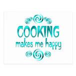 El cocinar me hace feliz tarjeta postal