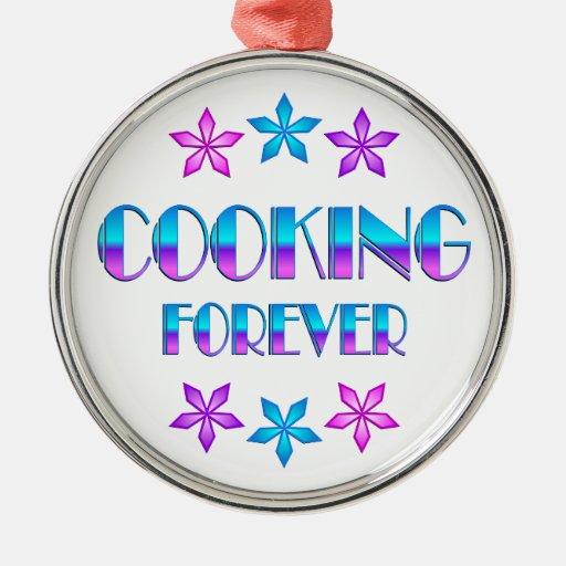 El cocinar para siempre adorno redondo plateado