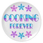 El cocinar para siempre platos para fiestas