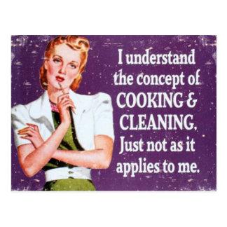 El cocinar y limpieza tarjetas postales