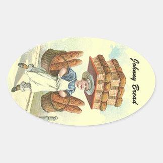 El cocinero antiguo del panadero del pan de la pegatina óval