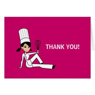 El cocinero culinario le agradece tarjeta de nota