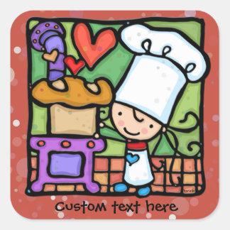 El cocinero de LittleGirlie ama cocer el pan DK Pegatina Cuadrada