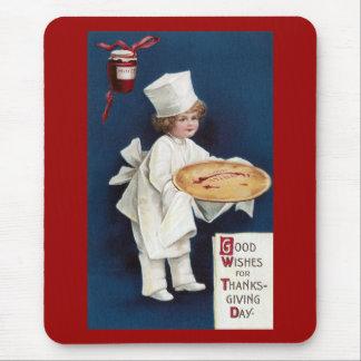 El cocinero del niño con pica acción de gracias alfombrillas de ratón