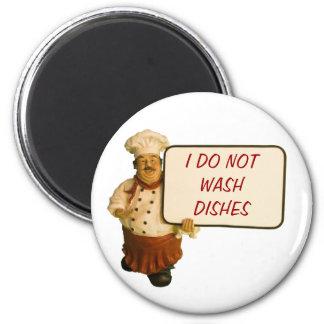 El cocinero dice que no lavo platos imán redondo 5 cm