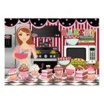 El cocinero/el abastecedor/la panadería felices - tarjetas de visita grandes