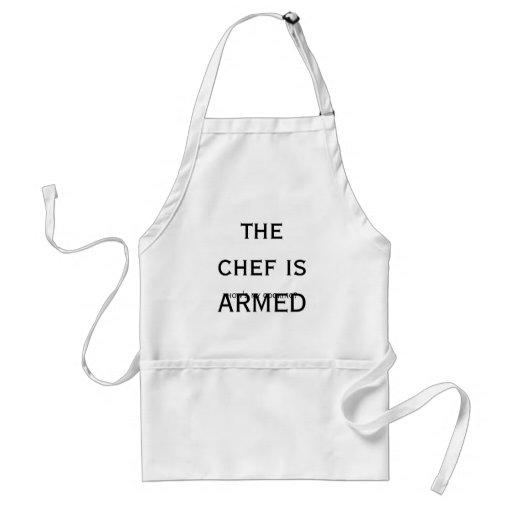 ¿el cocinero es ARMADO, cómo mi está cocinando? Delantal