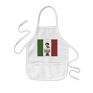 El cocinero italiano embroma el delantal de la