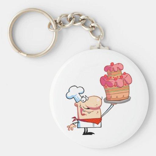 El cocinero orgulloso soporta la torta llavero redondo tipo pin