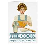 El cocinero pide la noche apagado tarjeta