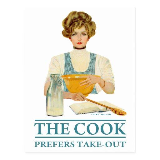 El cocinero prefiere para llevar postal