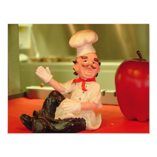 """El cocinero que se sienta invitación 4.25"""" x 5.5"""""""
