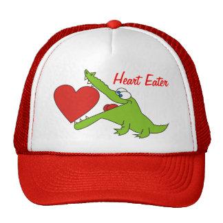 El cocodrilo divertido del comedor del corazón emb gorras de camionero