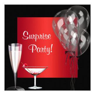 El cóctel hincha a la fiesta de cumpleaños roja de anuncio personalizado