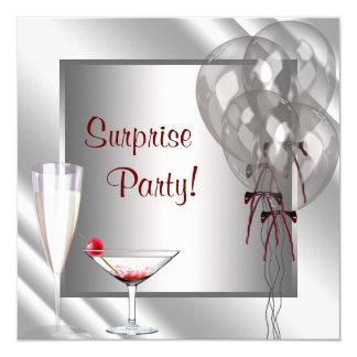 """El cóctel hincha a la fiesta de cumpleaños roja de invitación 5.25"""" x 5.25"""""""