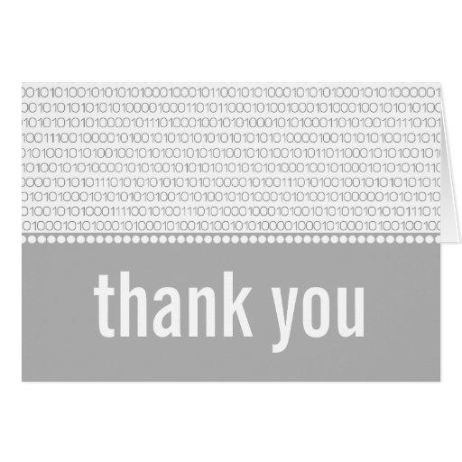 El código binario elegante del friki le agradece c tarjeta pequeña