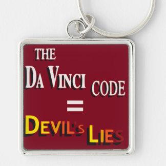 El código de da Vinci Llavero Cuadrado Plateado
