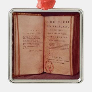 El código napoleónico adorno navideño cuadrado de metal