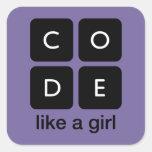 El código tiene gusto de un chica calcomanías cuadradases