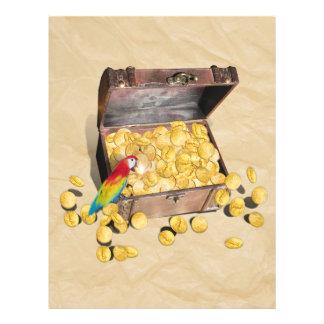 El cofre del tesoro del pirata en el papel de la a flyer a todo color
