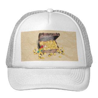 El cofre del tesoro del pirata en el papel de la a gorras de camionero