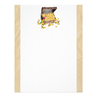 El cofre del tesoro del pirata en el papel de la a plantilla de membrete