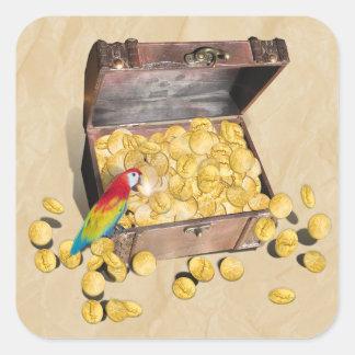 El cofre del tesoro del pirata en el papel de la calcomania cuadradas