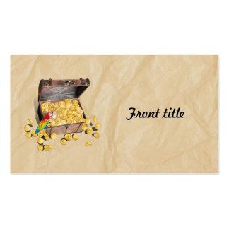 El cofre del tesoro del pirata en el papel de la tarjetas de visita