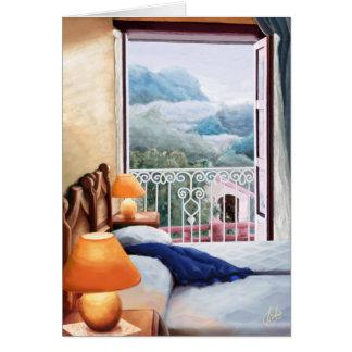 El cojín azul / The blue pillow. Card